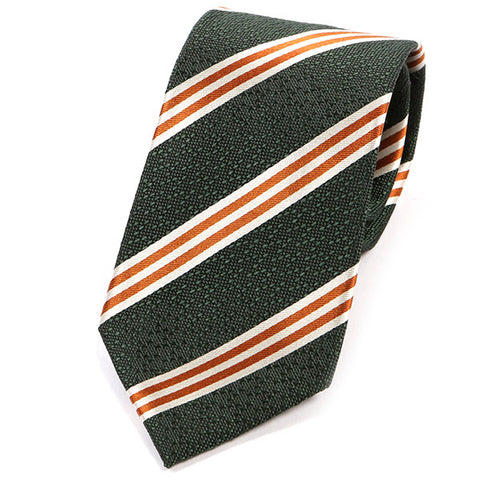 Green And Orange Stripe Silk Tie