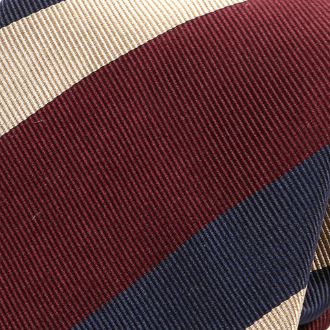 Dark Red And Cream Stripe Silk Tie