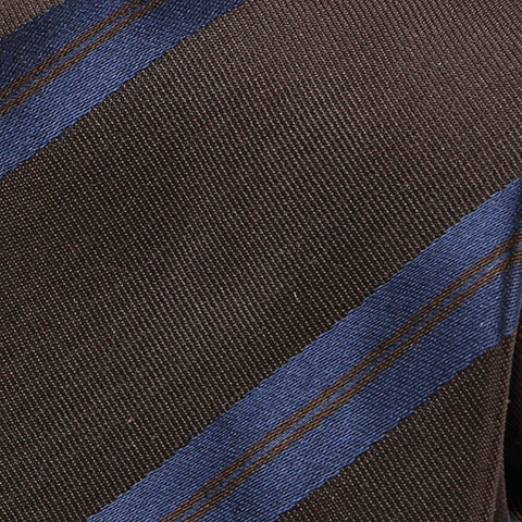 Brown And Navy Striped Silk Tie