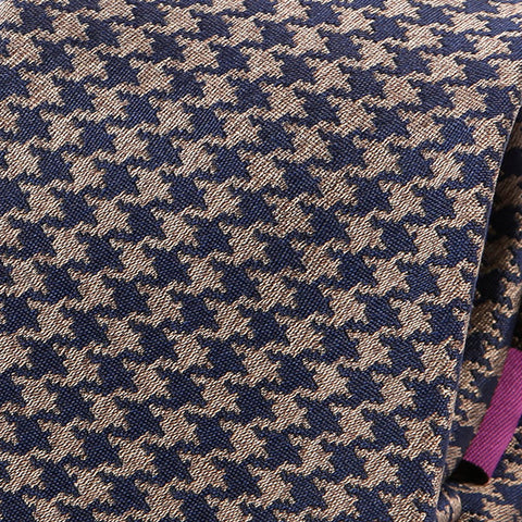 Navy And Brown Dogtooth Silk Tie