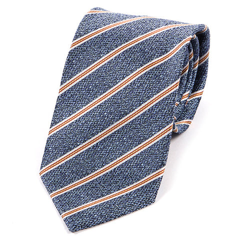 Light Blue And Orange Striped Silk Tie