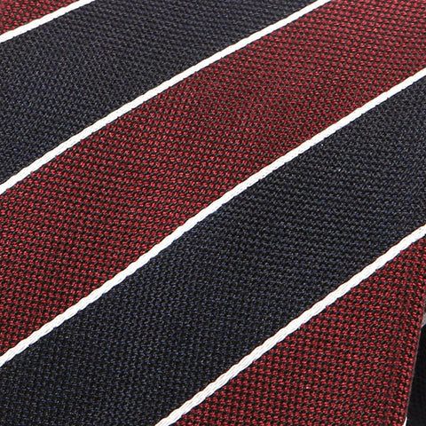 Burgundy And Navy Regimental Striped Silk Tie