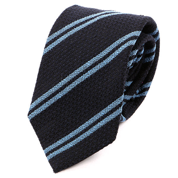 Navy And Blue Stripe Wool Tie