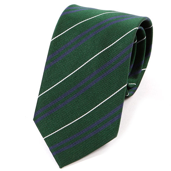 Green And Purple Striped Silk Tie