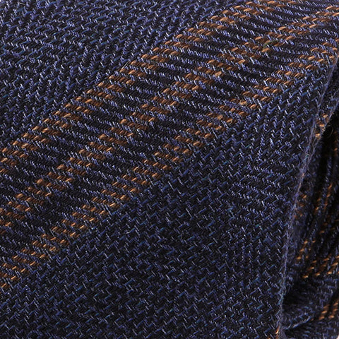 Navy And Brown Stripe Wool Tie