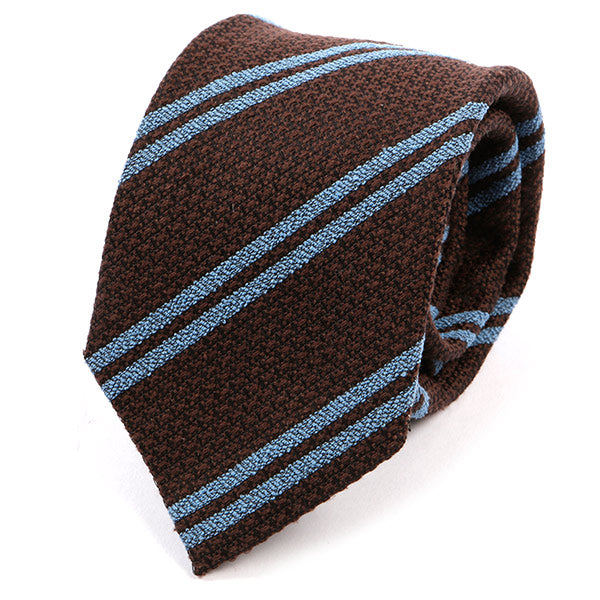 Brown And Blue Stripe Wool Tie