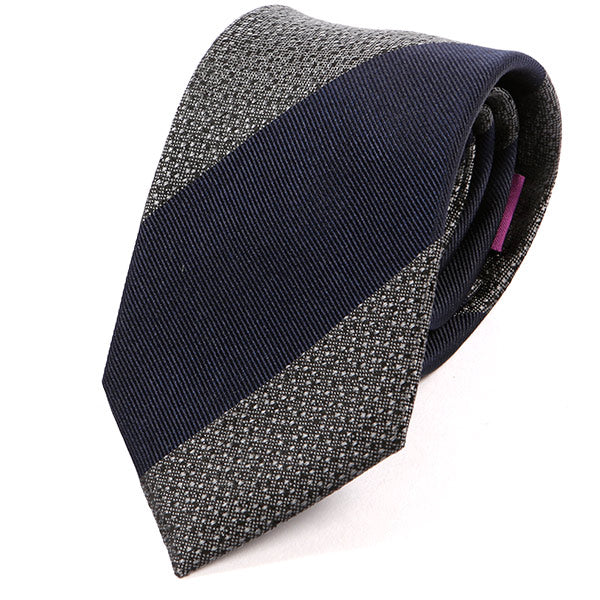 Navy Bold Striped Silk Tie