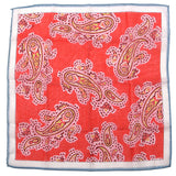 Red Large Detailed Paisley Pocket Square