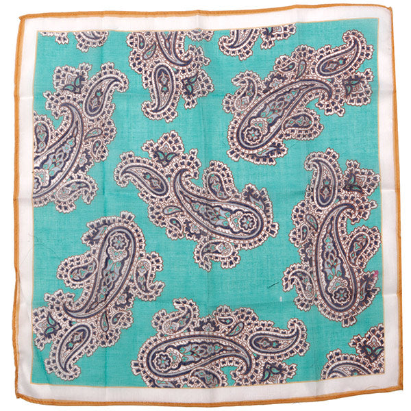 Green Large Detailed Paisley Pocket Square