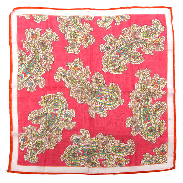 Pink And Green Large Detail Paisley Pocket Square
