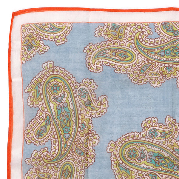 Light Blue Large Detailed Paisley Pocket Square - UK Printed