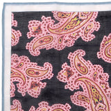 Navy Large Detailed Paisley Pocket Square