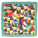 Teal Green Abstract Mountain Large Pocket Square