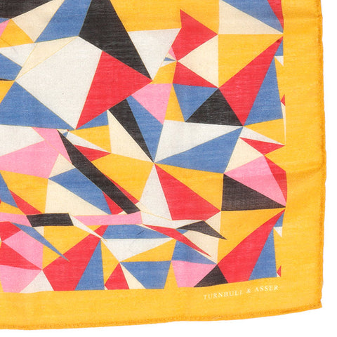 Mustard Orange Abstract Mountain Large Pocket Square