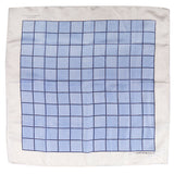 Light Blue And White Squares Large Silk Pocket Square - UK Printed