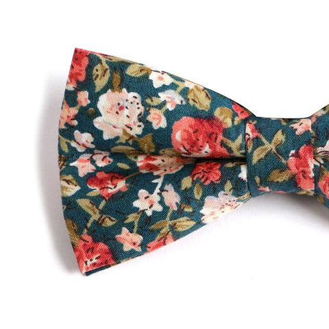 Green Floral Bow Tie - Handmade Silk Wool And Knitted Ties by Tie Doctor