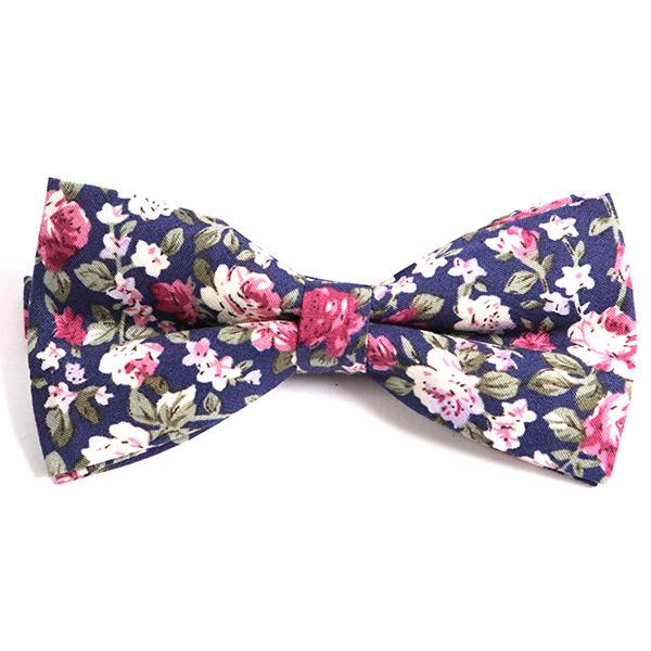 Navy Floral Bow Tie - Handmade Silk Wool And Knitted Ties by Tie Doctor