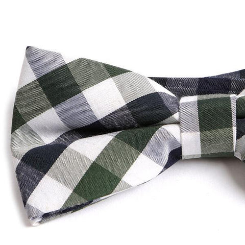 GREEN BIG CHECK BOW TIE - Handmade Silk Wool And Knitted Ties by Tie Doctor