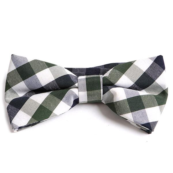 GREEN BIG CHECK BOW TIE
