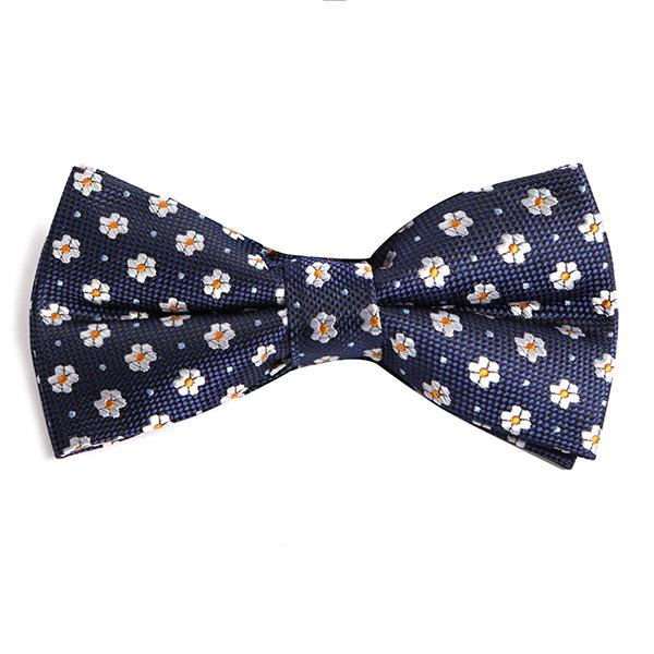 Navy Mini Floral Bow Tie - Handmade Silk Wool And Knitted Ties by Tie Doctor