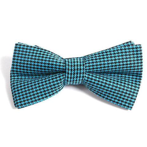 BLUE & WHITE RETRO BOW TIE - Handmade Silk Wool And Knitted Ties by Tie Doctor