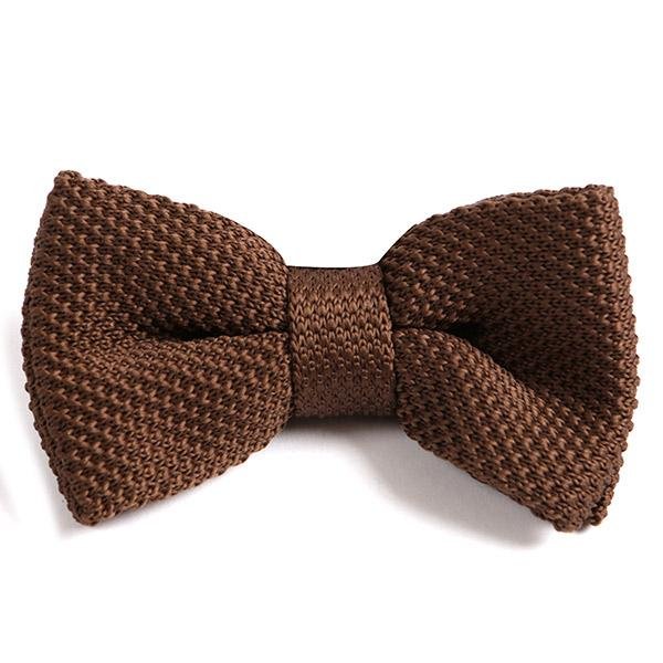 BROWN KNITTED BOW TIE - Handmade Silk Wool And Knitted Ties by Tie Doctor