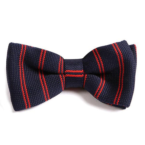 Navy & Red Knitted BOW TIE - Handmade Silk Wool And Knitted Ties by Tie Doctor