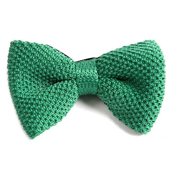 Mint Green Knitted BOW TIE - Handmade Silk Wool And Knitted Ties by Tie Doctor
