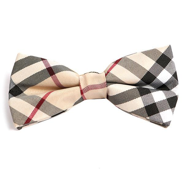 CREAM CHECK BOW TIE - Handmade Silk Wool And Knitted Ties by Tie Doctor