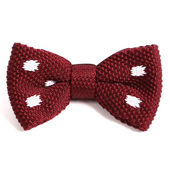 BURGUNDY BIG POLKA DOT BOW TIE - Handmade Silk Wool And Knitted Ties by Tie Doctor