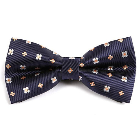 NAVY BLUE FLORAL BOW TIE - Handmade Silk Wool And Knitted Ties by Tie Doctor