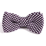 PURPLE & WHITE KNITTED BOW TIE