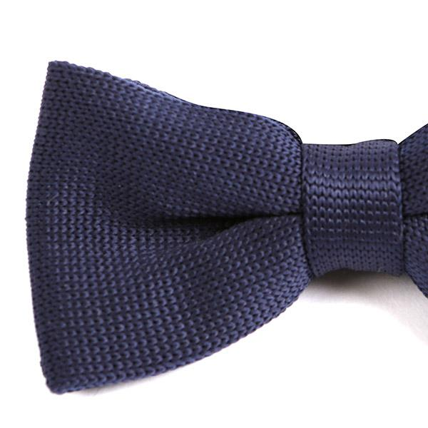Plan Navy Blue Knitted Bow Tie - Handmade Limited Edition Ties by Tie Doctor