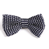 Navy Picked Knitted Bow Tie - Handmade Silk Wool And Knitted Ties by Tie Doctor