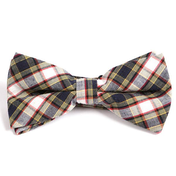 White Check Bow Tie
