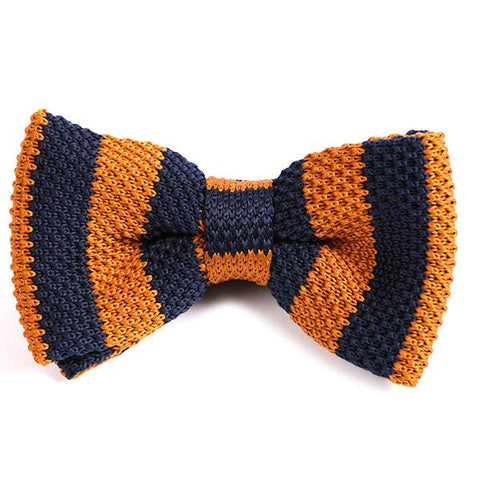 BROWN ORANGE & NAVY KNITTED BOW TIE - Handmade Silk Wool And Knitted Ties by Tie Doctor