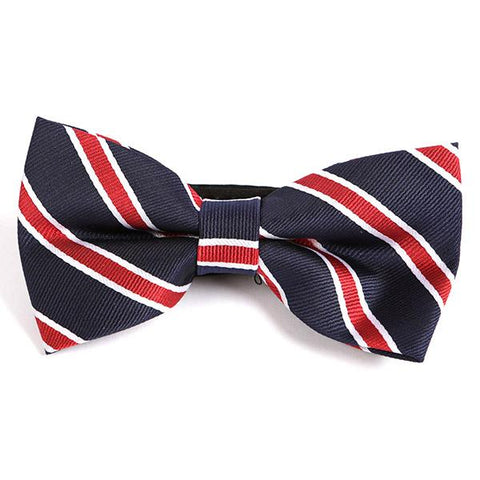 Navy Striped Bow Tie - Handmade Limited Edition Ties by Tie Doctor