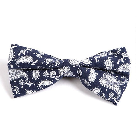 Navy Paisley Bow Tie - Handmade Silk Wool And Knitted Ties by Tie Doctor