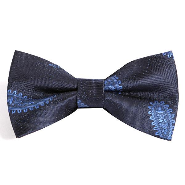 NAVY BLUE PAISLEY BOW TIE - Handmade Silk Wool And Knitted Ties by Tie Doctor