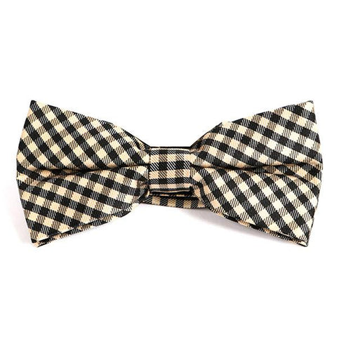 BLACK & BROWN MINI CHECK BOW TIE - Handmade Silk Wool And Knitted Ties by Tie Doctor