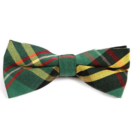 GREEN VINTAGE CHECK BOW TIE - Handmade Silk Wool And Knitted Ties by Tie Doctor