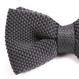 GREY KNITTED BOW TIE - Handmade Silk Wool And Knitted Ties by Tie Doctor