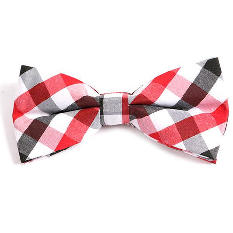 RED BIG CHECK BOW TIE - Handmade Limited Edition Ties by Tie Doctor