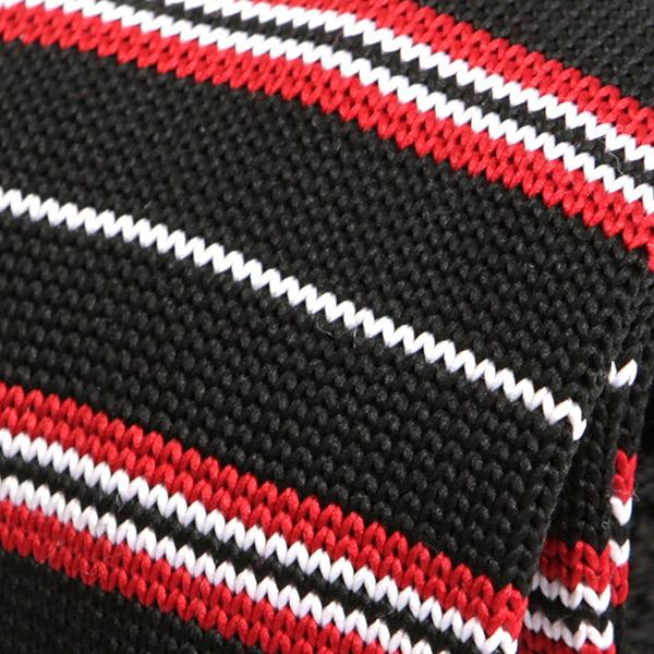 Black & Red Striped Pattern Knitted Tie - Handmade Silk Wool And Knitted Ties by Tie Doctor