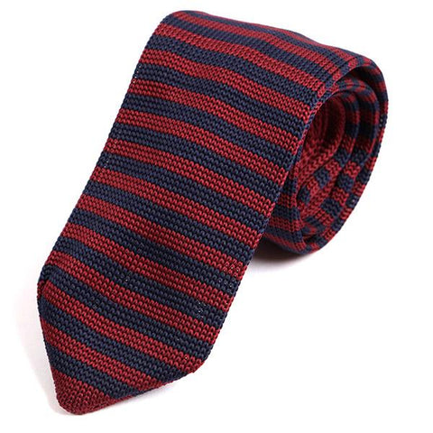 Red Striped Pointed Knitted Tie