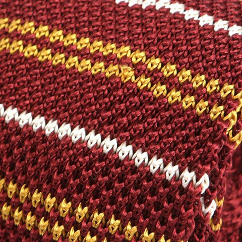 Red & Gold Silk Knitted Tie - Handmade Limited Edition Ties by Tie Doctor