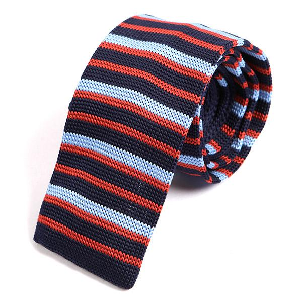 Navy Cambridge Fusion Knitted Tie - Handmade Silk Wool And Knitted Ties by Tie Doctor