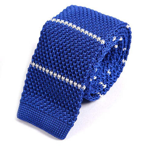Blue Striped Knitted Tie - Handmade Silk Wool And Knitted Ties by Tie Doctor