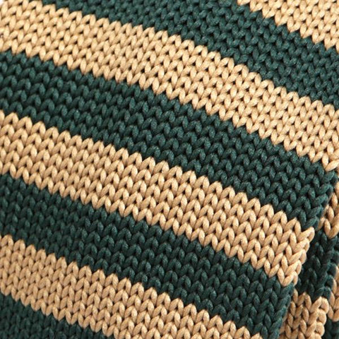 Green Knight Striped Knitted Tie - Handmade Silk Wool And Knitted Ties by Tie Doctor