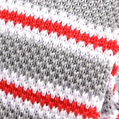 Silver & White Striped Knitted Tie